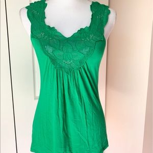 Green Top with Floral Detail